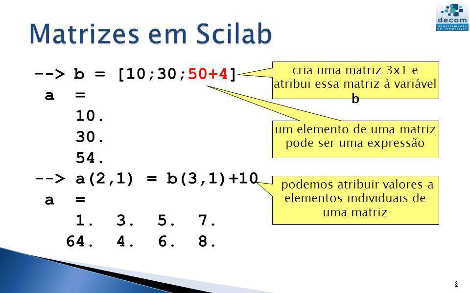 Matrizes em Scilab --> b = [10;30;50+4] a = 10. 30. 54.